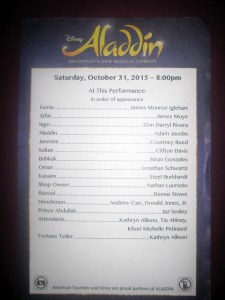 Aladdin Halloween night cast list